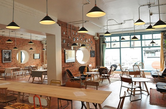 hình quán cafe mid century modern