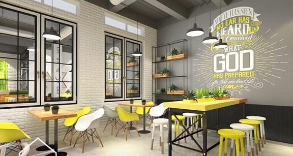 Kết hợp hình vẽ tường, kệ gỗ và câu xanh trong trang trí quán trà sữa